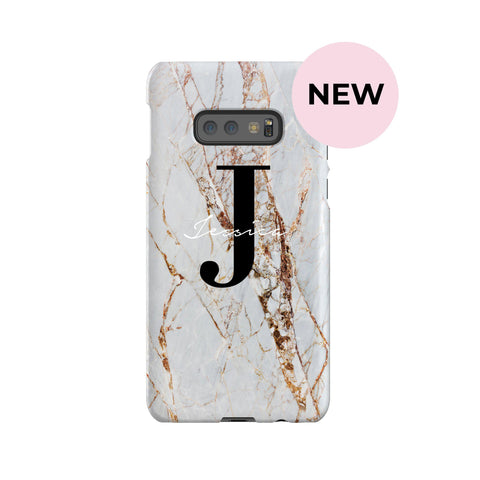 Personalised Cracked Marble Name Initials Samsung Galaxy S10e Case
