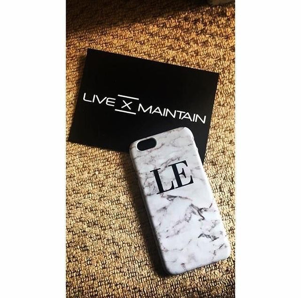 Personalised White Napoli Marble Initials iPhone 8 Plus Case