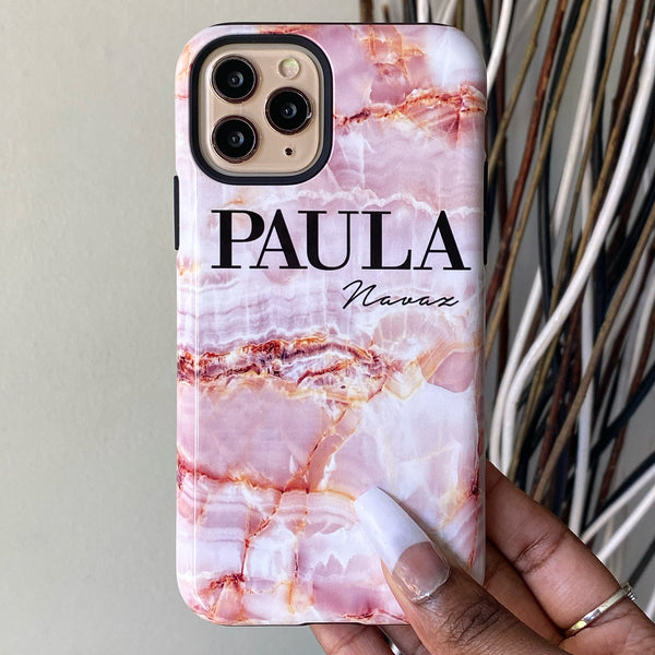 Personalised Natural Pink Marble Initials iPhone 8 Plus Case