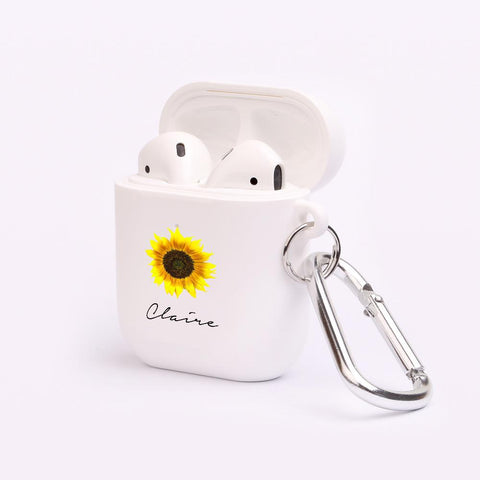 Personalised Sunflower Name Airpod Case