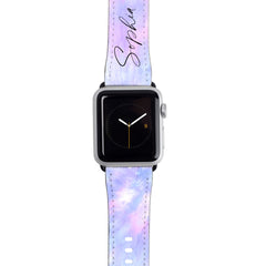 Personalised Blue Tie Dye Name Apple Watch Strap