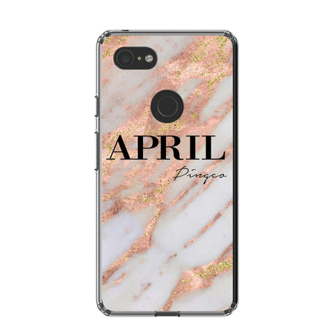 Personalised Aprilia Marble Name Google Pixel 3 XL Case
