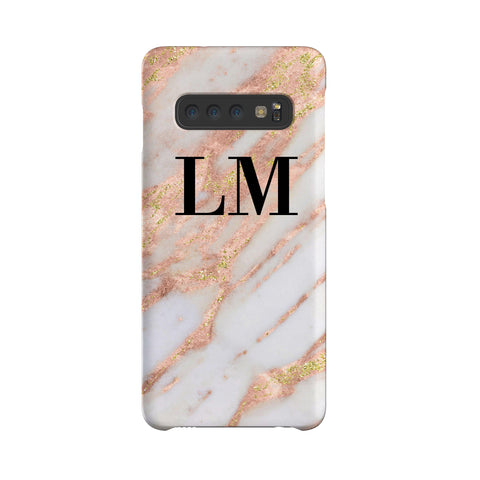 Personalised Aprilia Marble Initials Samsung Galaxy S10 Case