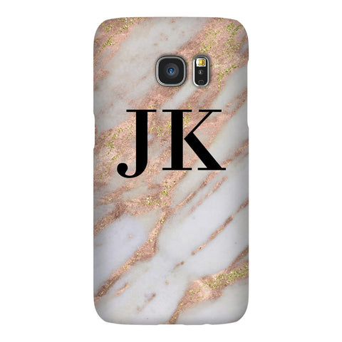 Personalised Aprilia Marble Initials Samsung Galaxy S7 Case