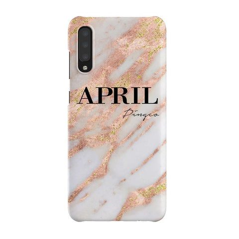 Personalised Aprilia Marble Name Samsung Galaxy A70 Case