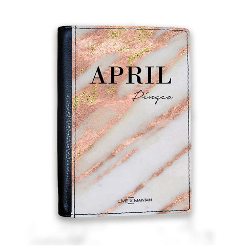 Personalised Aprilia Marble Name Passport Cover