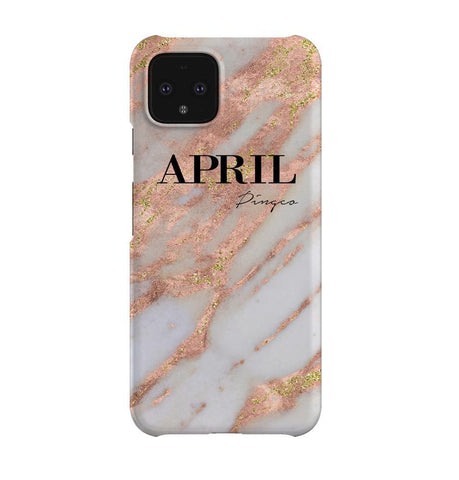 Personalised Aprilia Marble Name Google Pixel 4 Case