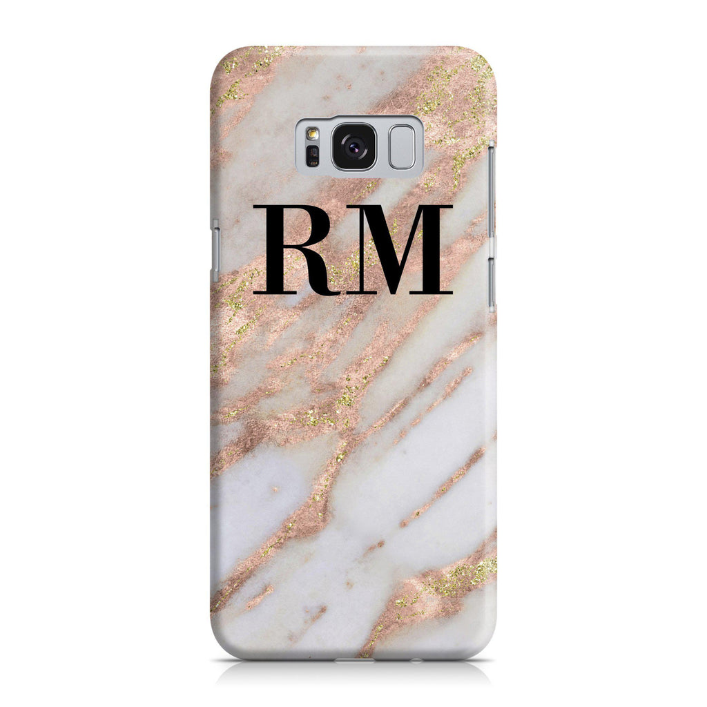 Personalised Aprilia Marble Initials Samsung Galaxy S8 Case