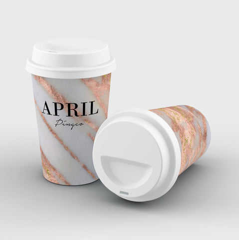 Personalised Aprilia Marble Name Reusable Coffee Cup