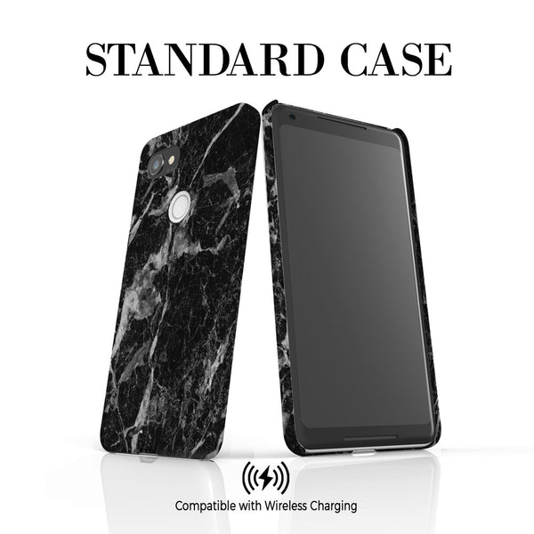 Personalised Black Stone Marble Initials Google Pixel 2 XL Case
