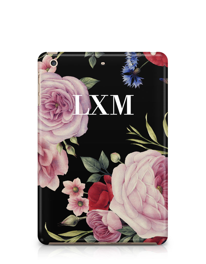 Personalised Black Floral Blossom Initials iPad Case