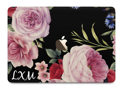 Personalised Black Floral Blossom Initials MacBook Case