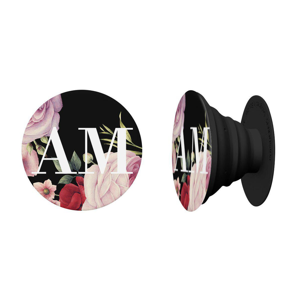 Personalised Black Floral Blossom Initials PopSocket