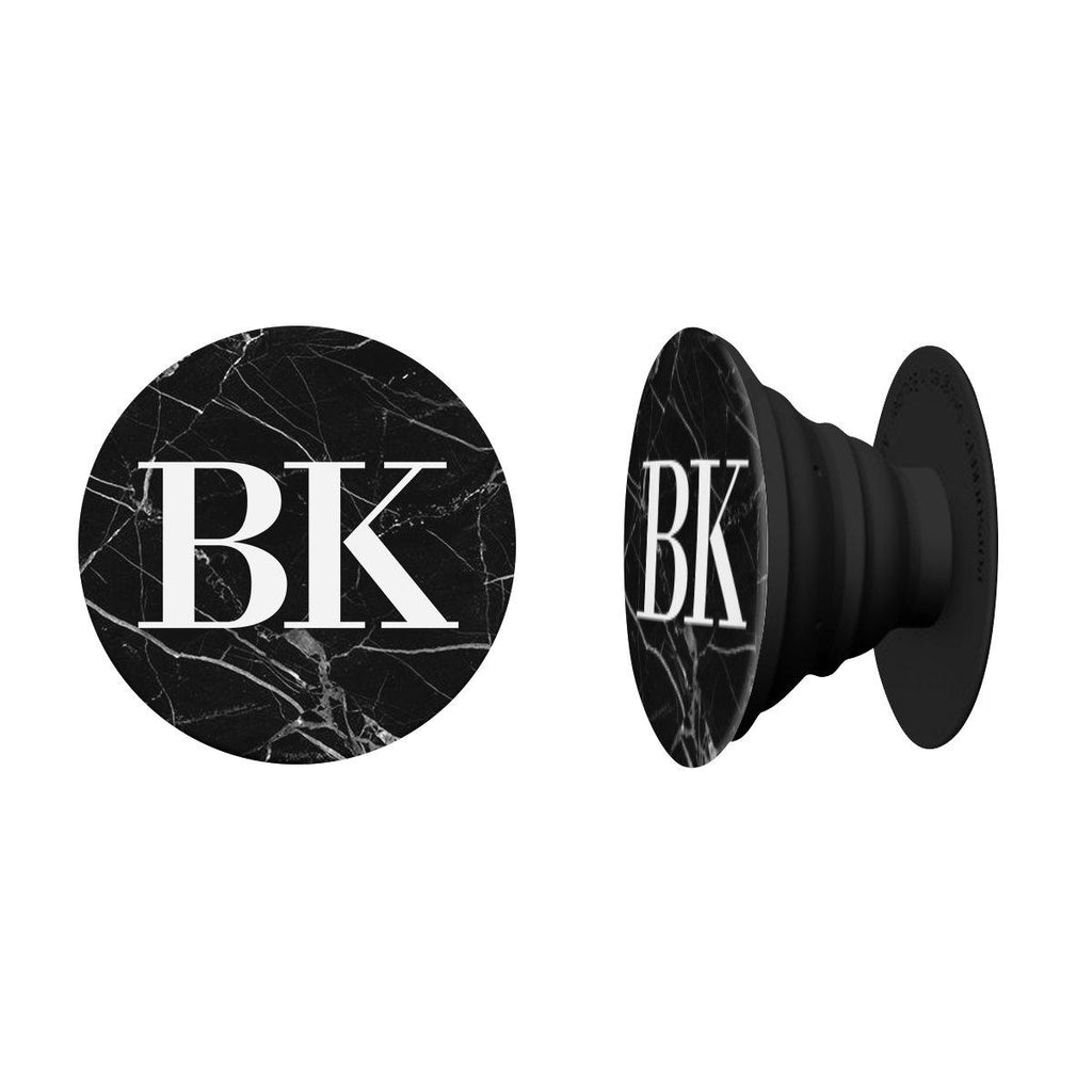 Personalised Black Marble Initials PopSocket