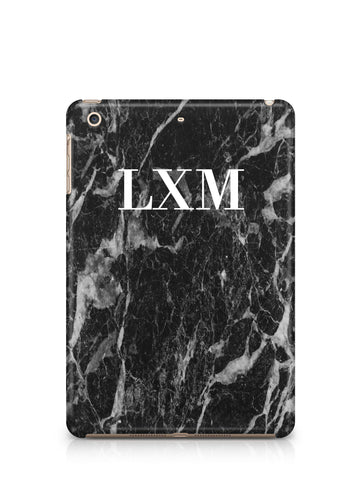 Personalised Black Stone Marble Initials iPad Case