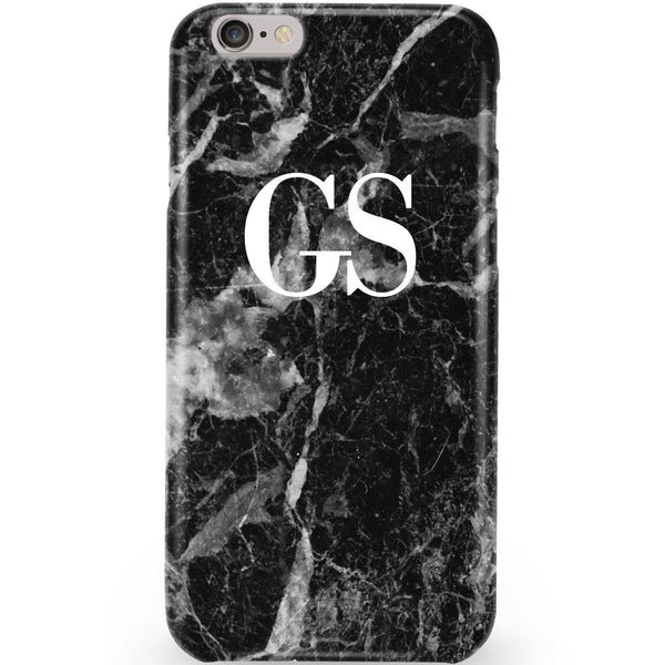 Personalised Black Stone Marble Initials Phone Case