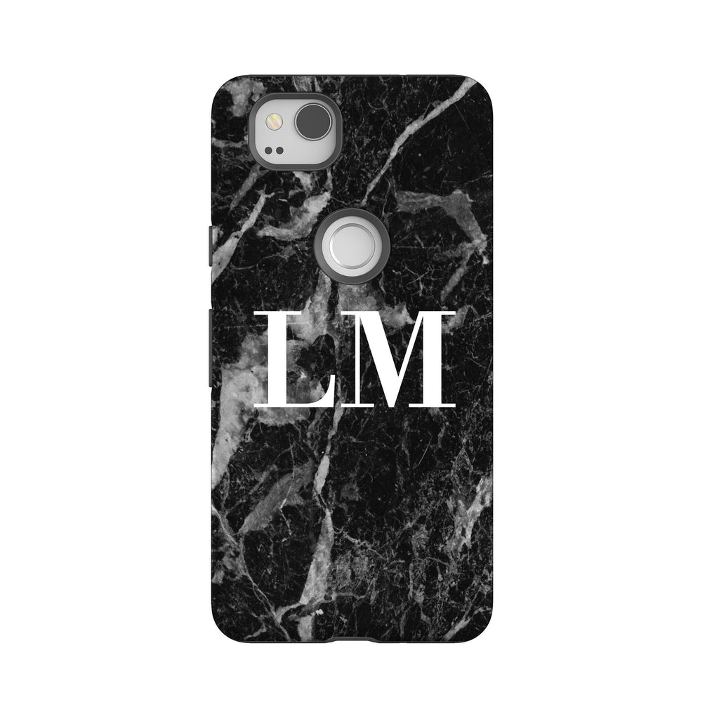 Personalised Black Stone Marble Google Pixel 2 Case