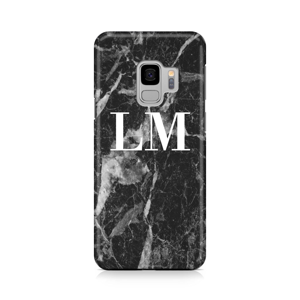 Personalised Black Stone Marble Initials Samsung Galaxy S9 Case