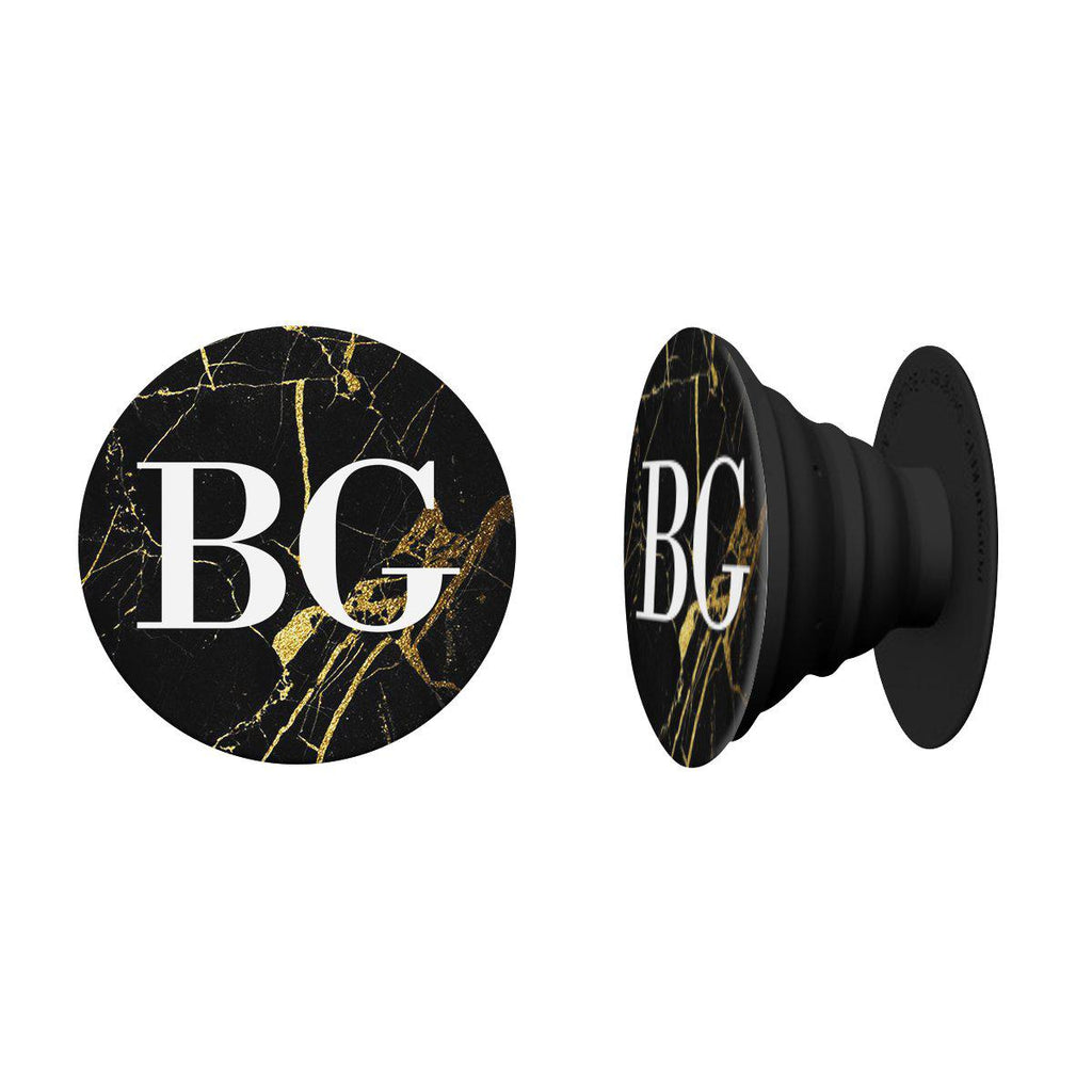 Personalised Black x Gold Marble Initials Phone Grip