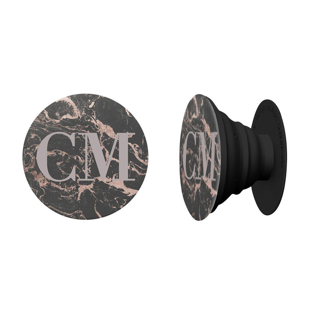 Personalised Black x Pink Marble Initials Phone Grip