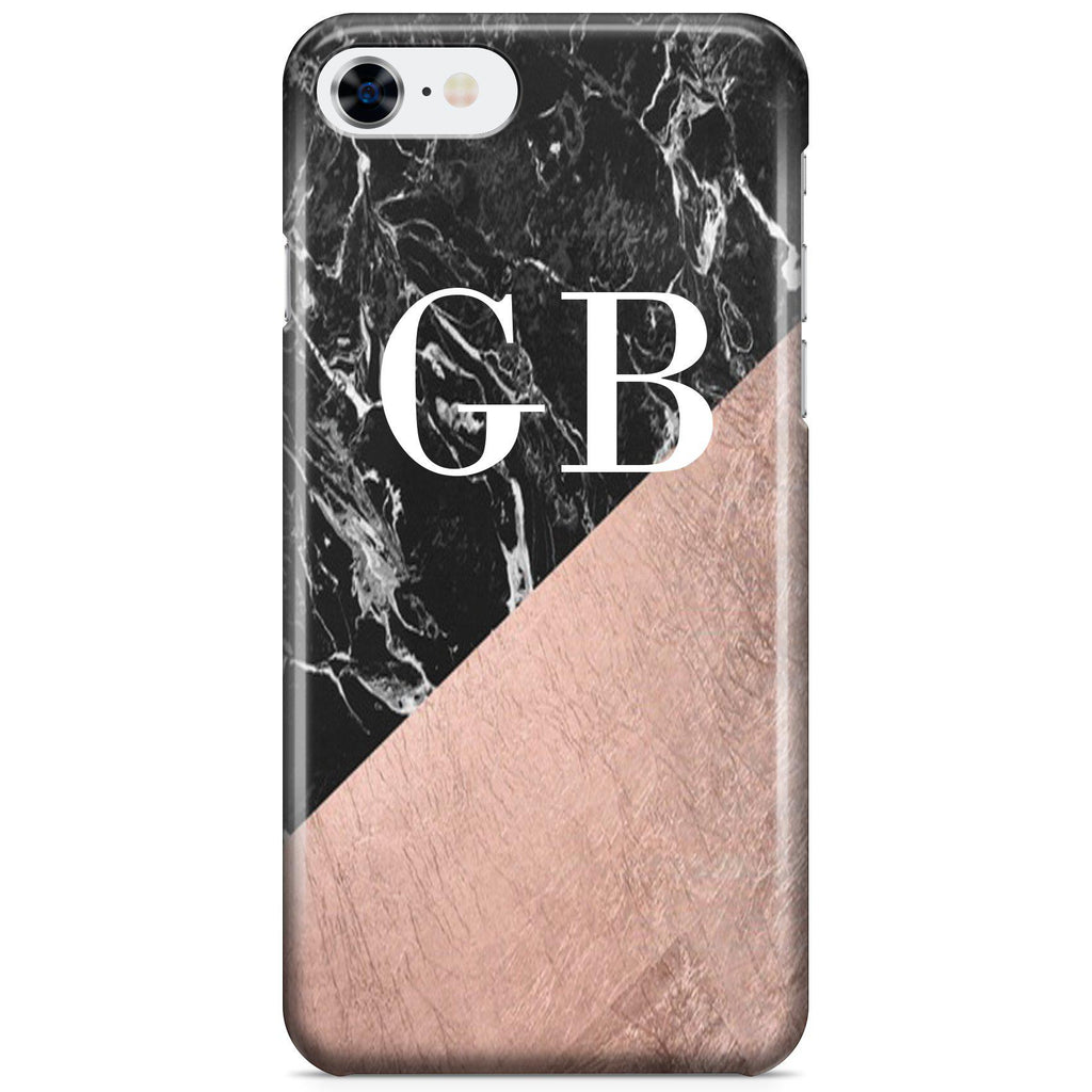 size 40 dae28 90b34 Personalised Black x Rose Gold Marble Initials iPhone 7 Case