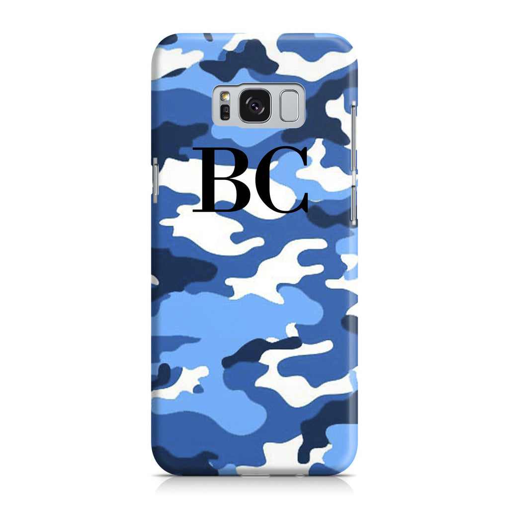 Personalised Blue Camouflage Initials Samsung Galaxy S8 Plus Case
