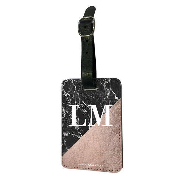 Personalised Back Rose Gold Marble Initials Luggage Tag