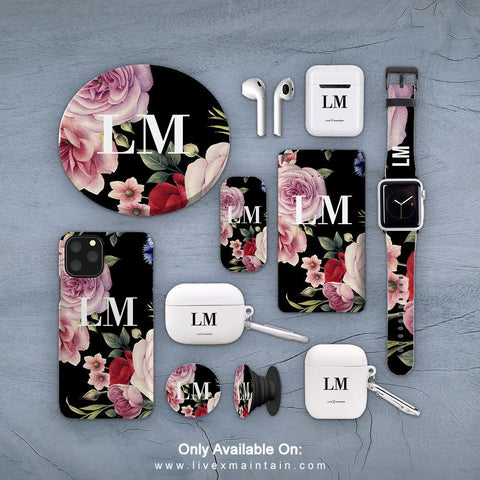 Personalised Black Floral Blossom Phone Case Accessories Package