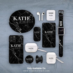 Personalised Black Marble Name Phone Case Accessories Package