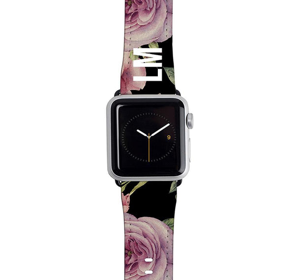 Personalised Black Floral Blossom Apple Watch Strap