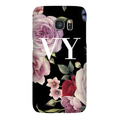 Personalised Black Floral Blossom Initials Samsung Galaxy S7 Edge Case