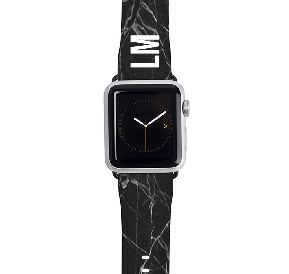 Personalised Black Marble Apple Watch Strap