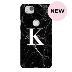 Personalised Black Marble Name Initial Google Pixel 2 Case
