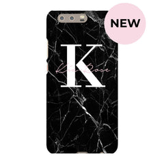 Personalised Black Marble Name Initials Huawei P10 Plus Case