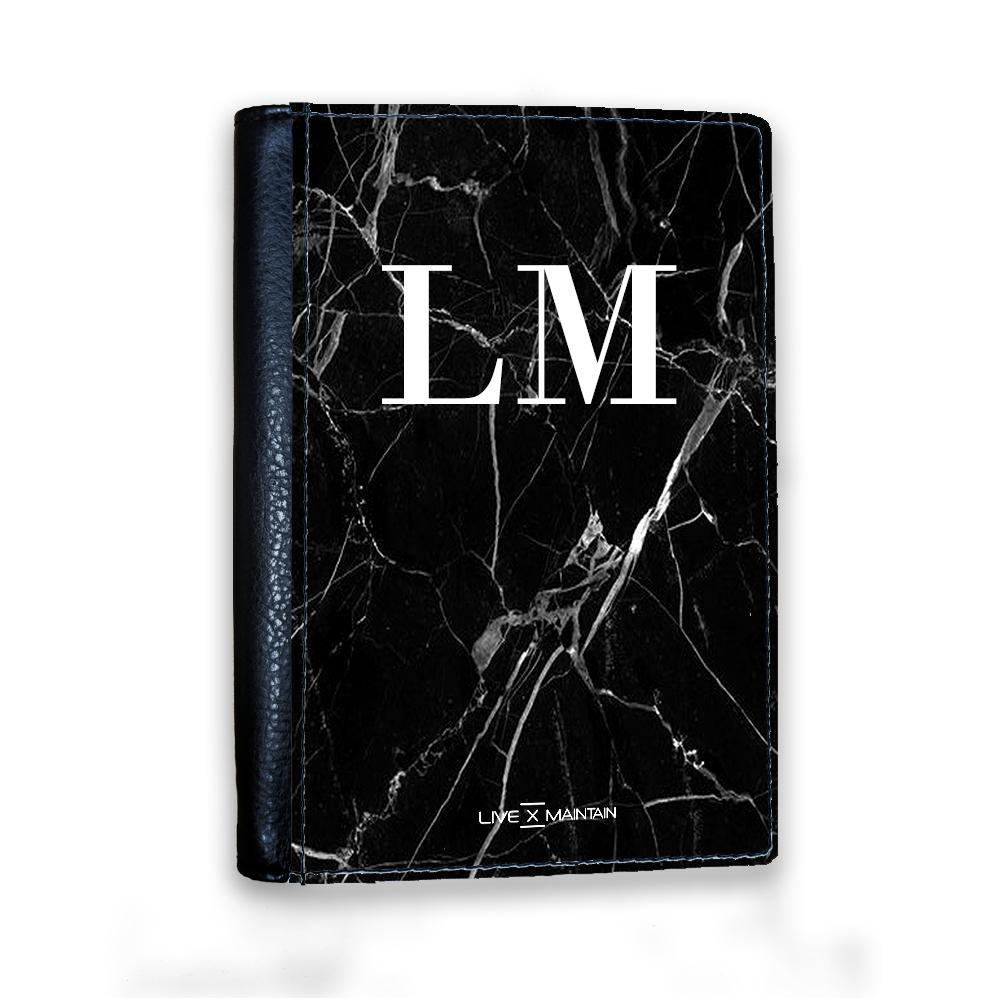 Personalised Black Marble Initials Passport Cover