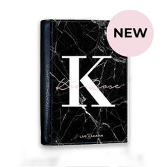 Personalised Black Marble Name Initials Passport Cover