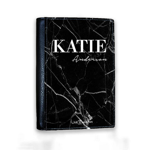 Personalised Black Marble Name Passport Cover