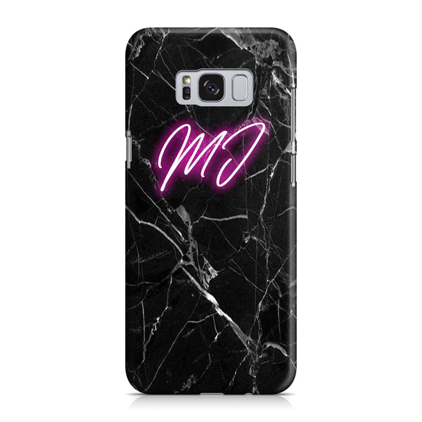 Personalised Black Marble Neon Initials Samsung Galaxy S8 Case