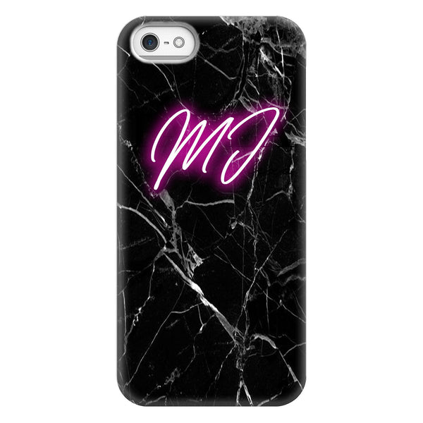Personalised Black Marble Neon Initials iPhone 5/5s/SE (2016) Case