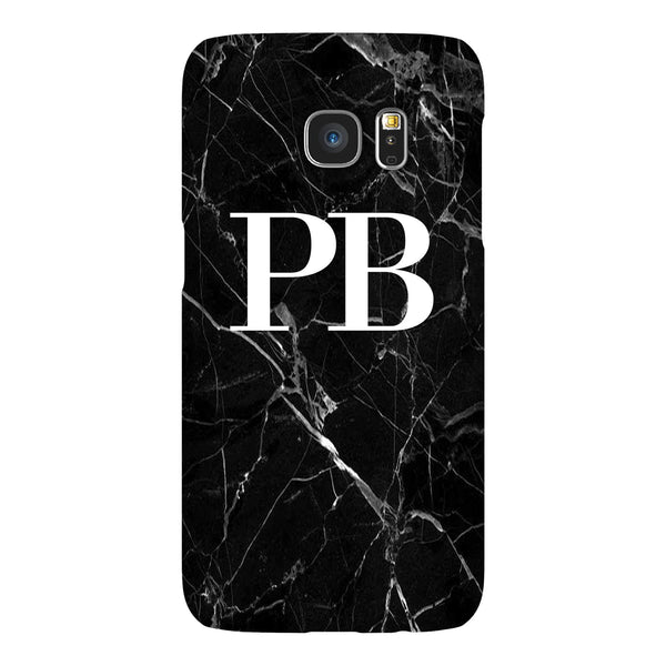 Personalised Black Marble Initials Samsung Galaxy S7 Case