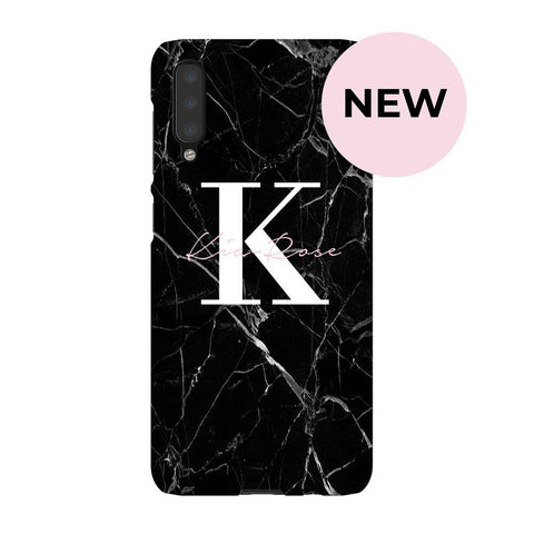 Personalised Black Marble Name Initials Samsung Galaxy A50 Case