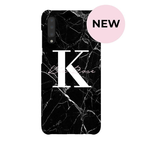 Personalised Black Marble Name Initials Samsung Galaxy A70 Case