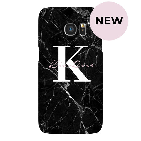 Personalised Black Marble Name Initials Samsung Galaxy S7 Edge Case