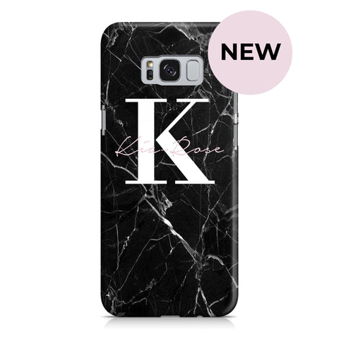 Personalised Black Marble Name Initials Samsung Galaxy S8 Case