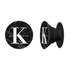 Personalised Black Marble Name Initials Phone Grip