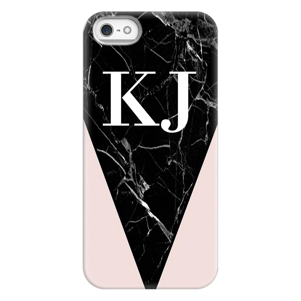 Personalised Pink x Black Marble Contrast iPhone 5/5s/SE (2016) Case