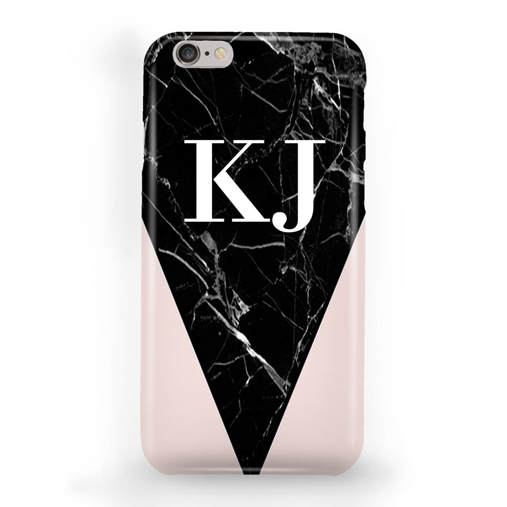 Personalised Pink x Black Marble Contrast iPhone 6/6s Case