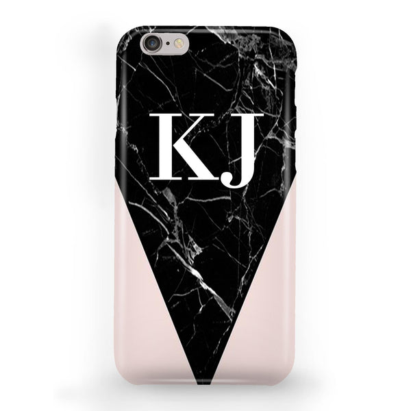 Personalised Pink x Black Marble Contrast iPhone 6 Plus/6s Plus Case