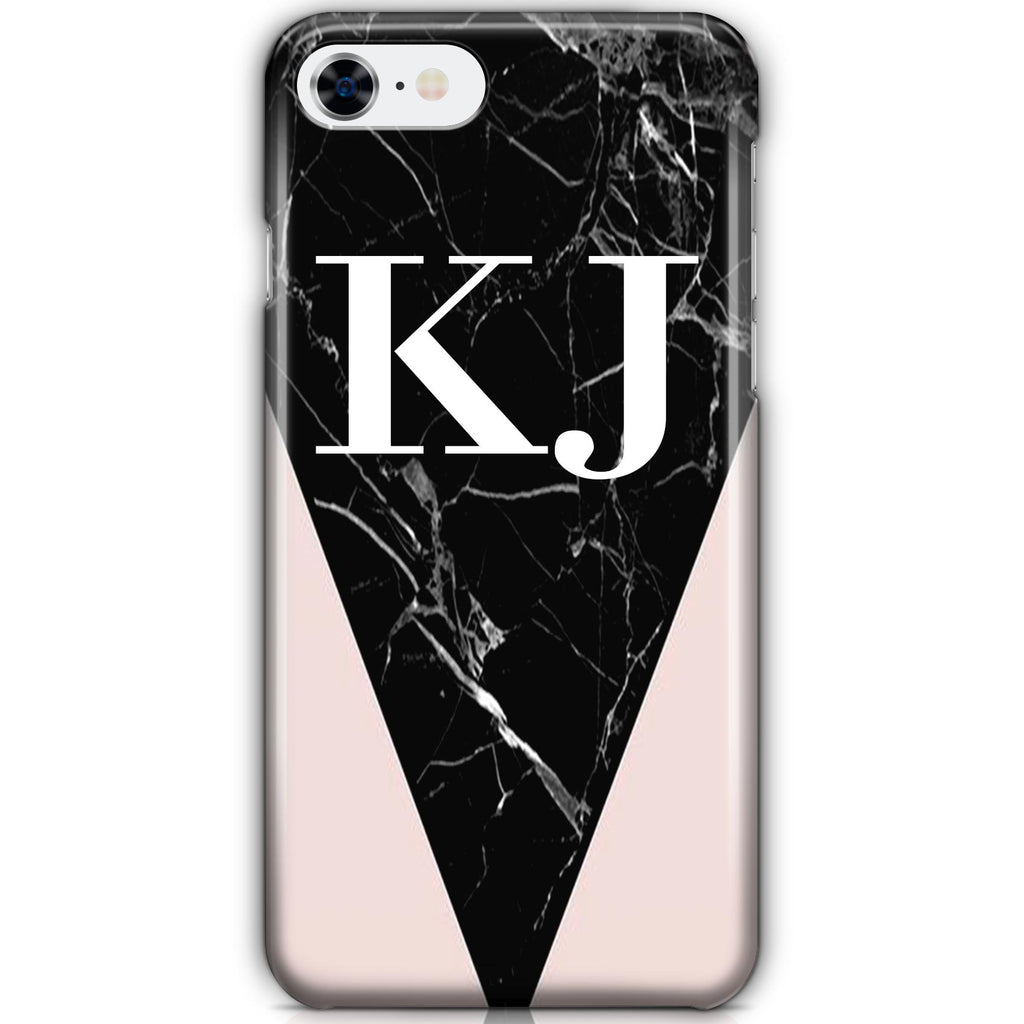 Personalised Pink x Black Marble Contrast iPhone 8 Case