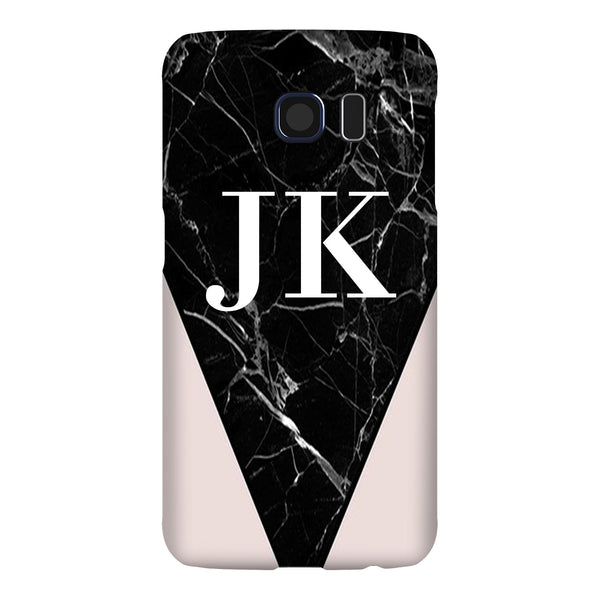Personalised Pink x Black Marble Contrast Samsung Galaxy S6 Edge Case